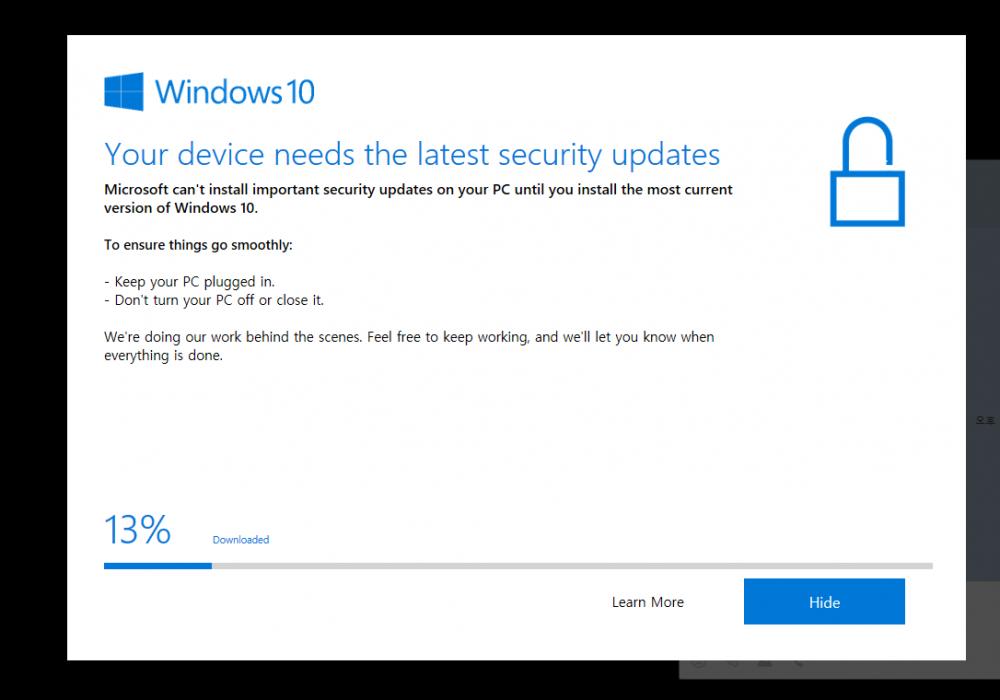 윈도우 10 Your device needs the lastest security updates